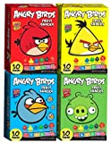 """Angry Birds"" Fruit Snacks Combo Case of 4 Boxes RED BLUE GREEN YELLOW (10 Pack Per Box)"