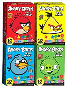 """""""Angry Birds"""" Fruit Snacks Combo Case of 4 Boxes RED BLUE GREEN YELLOW (10 Pack Per Box)"""