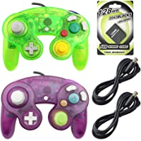 AreMe 2 Packs Game Cube Controllers with 2 Extension Cables and 128mb Memory Card for Nintendo Wii Gamecube GC Console(Clear Purple+Moss Green)
