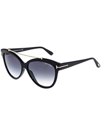 971bc3c004 Image Unavailable. Image not available for. Color  Tom Ford FT0518 01B  Shiny Black Livia Cats Eyes Sunglasses Lens Category 2 Size