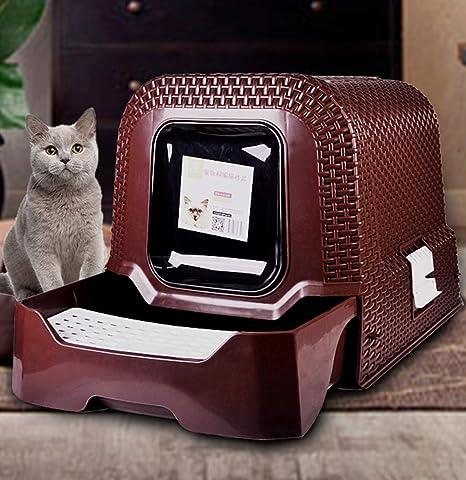 Caja de arena para mascotas, entrada superior Caja de arena para gatos Fácil de limpiar Totalmente