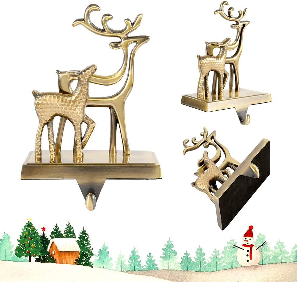 Little grass Set of 4 Christmas Stocking Holder Xmas Stocking Hangers for Fireplace Mantle Free Standing Indoor Deer Snowflake Snowman Xmas Tree Decorations