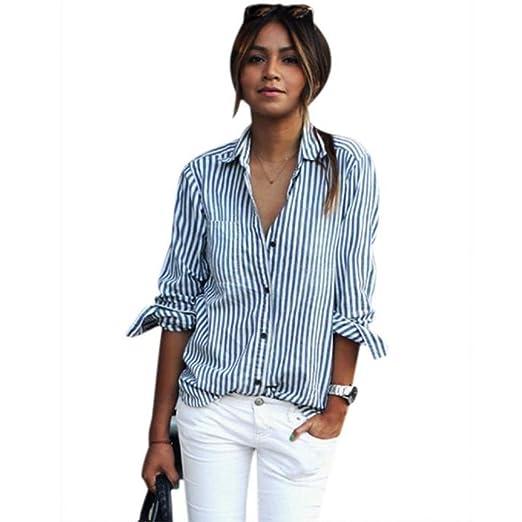 4e0c8a4097841 AliveGOT Womens Basic Striped Long Sleeve Cotton Simple Button Down Shirt Plus  Size