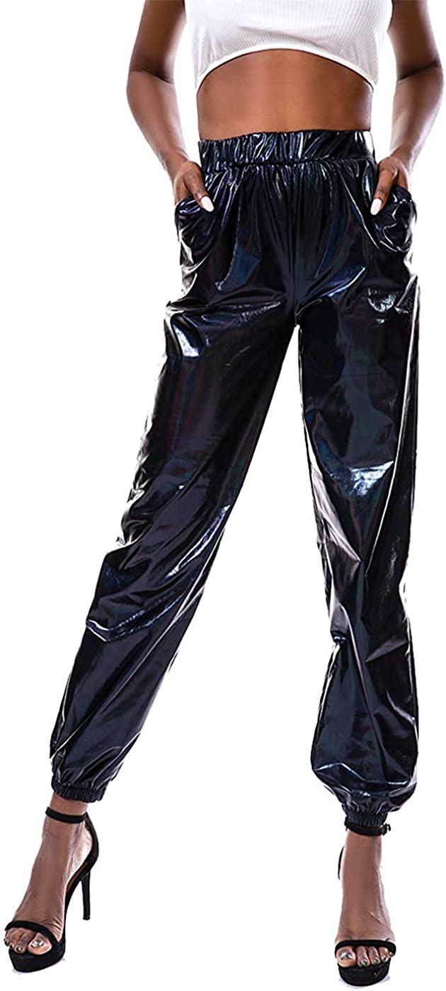 Misown Metallic Shiny Pants Women Reflective Workout Joggers Pants High Visibility Hip Hop Streetwear Trousers