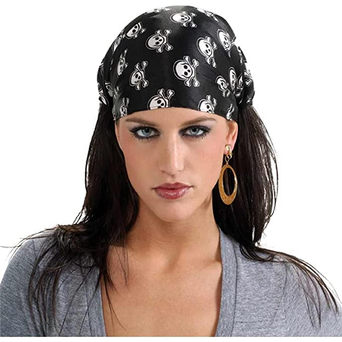 Black & White Lady Pirate Headwear Skull & Crossbones Bandana by Rubie's Costume Co