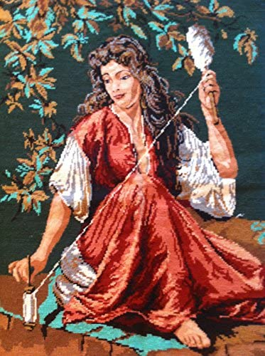 Large Completed Needlepoint Canvas Art Tapestry 24 x 32