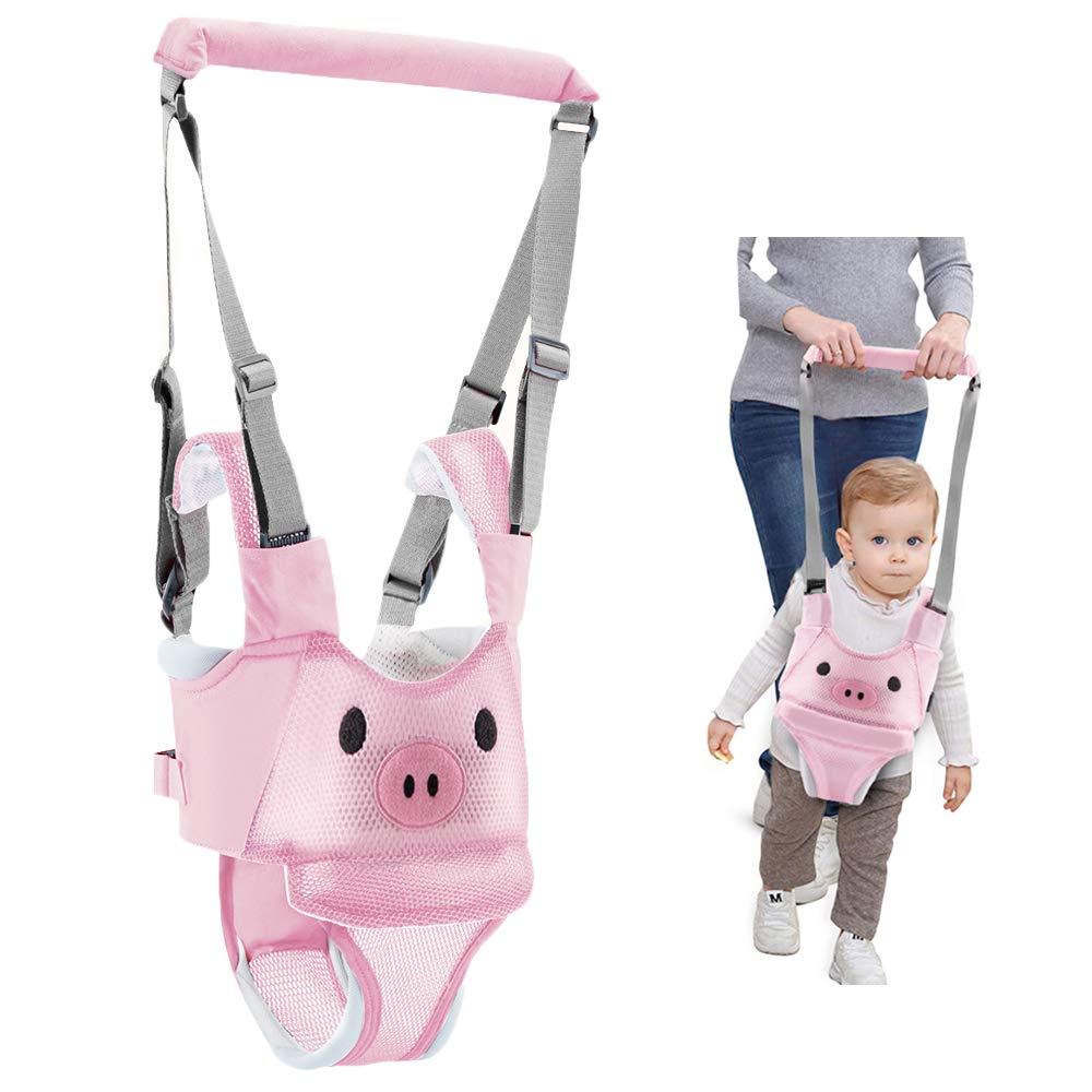 Baby Walking Harness Adjustable Detachable Mesh Baby Walker Assistant Protective Belt for Kids Infant Toddlers (Pink)