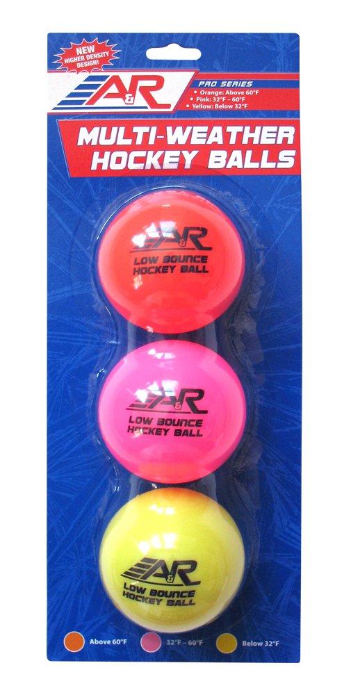A & R Sports faible rebond Multi météo Street Balles de hockey (lot de 3) A&R Sports HKYBALL3PK