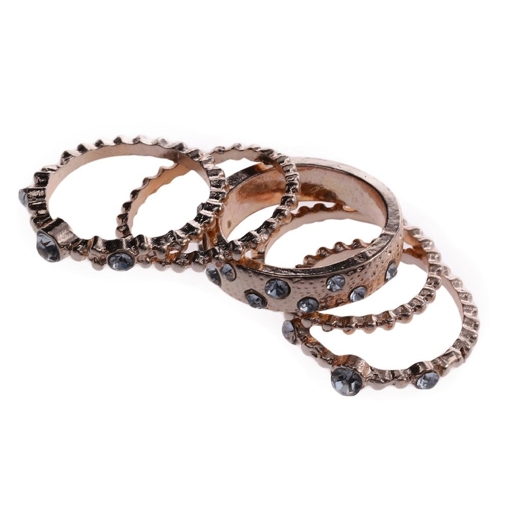 Uscharm Rose Gold Stackable Ring 5 Sparkly Rings Gold Womens Rings For Girls (GD10)