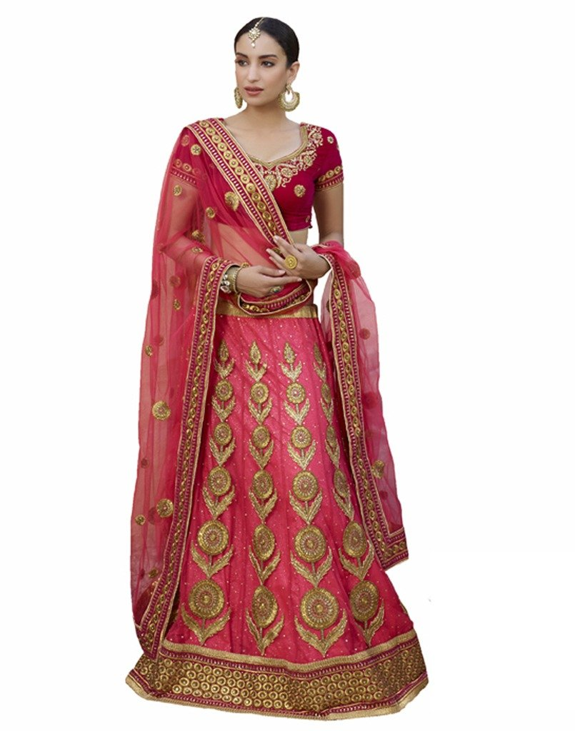 DesiButik's Wedding Wear Lovely Gajri Net Lehenga