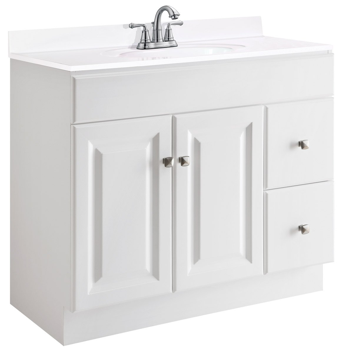 Design House 545095 Wyndham White Semi-Gloss Vanity Cabinet with 2-Doors and 2-Drawers, 36-Inches Wide by 21-Inches Deep by 31.5-Inches Tall - 36 in. W x 21 in. D x 31. 5 in. H Plenty of storage for toiletries to keep your countertop free of clutter Modern construction meshes with subtle vintage details for an elegant addition to your bathroom - bathroom-vanities, bathroom-fixtures-hardware, bathroom - 61am2Mf2L4L -