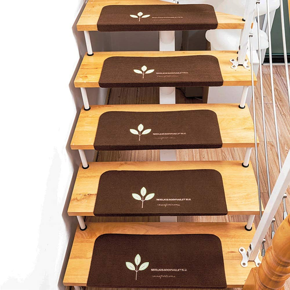 Lili Steps, Alfombrillas para Escalones Antideslizantes, Bordado Visual Alfombrillas para Escalones Luminosos, Adecuado para Escaleras, Decoración del Hogar (5 Piezas),Marrón: Amazon.es: Hogar