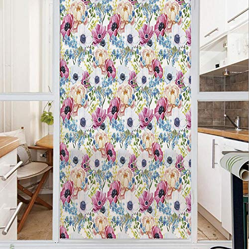 Decorative Window Film,No Glue Frosted Privacy Film,Stained Glass Door Film,Vintage Colorful Anemone and Forget Me Not Flowers Romantic Mimosa Peony Art Decorative,for Home & Office,23.6In. by 35.4In