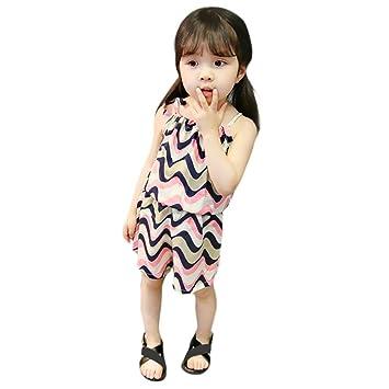 74e7621e3ea09 Aliciga 子供服 女の子 キャミソール ベスト + ショートパンツ 2点セット ベビー服 波 ボーダー プリント