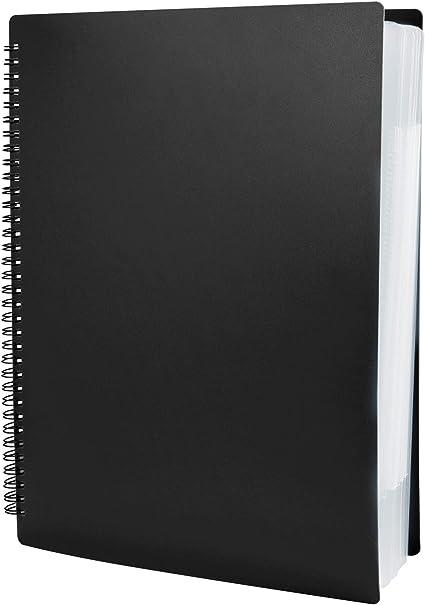 Impermeabile Portalistino Music Folder con 60 Buste Formato Interno per Conferenza Ufficio Casa Scuola e Lavoro Portalistini Cartelle per Progetti A4