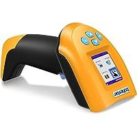 TroheStar Scanner de Codes barres Sans fil 433Mhz, Lecteur de Code Barre Handheld avec Écran LCD Couleur TFT Intelligent et Récepteur USB, Laser Automatique, Rayon de 50m