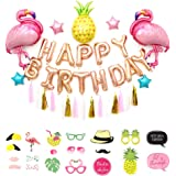Flamingo and Pineapple Party Supplies - Pack of 55, Flamingo Balloons/Pineapple Balloons/Happy Birthday Set/Tassel…