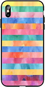 Okteq Case for iPhone X and iphone XS Shock Absorbing PC TPU Full Body Drop Protection Cover matte printed - multi colors lines By Okteq