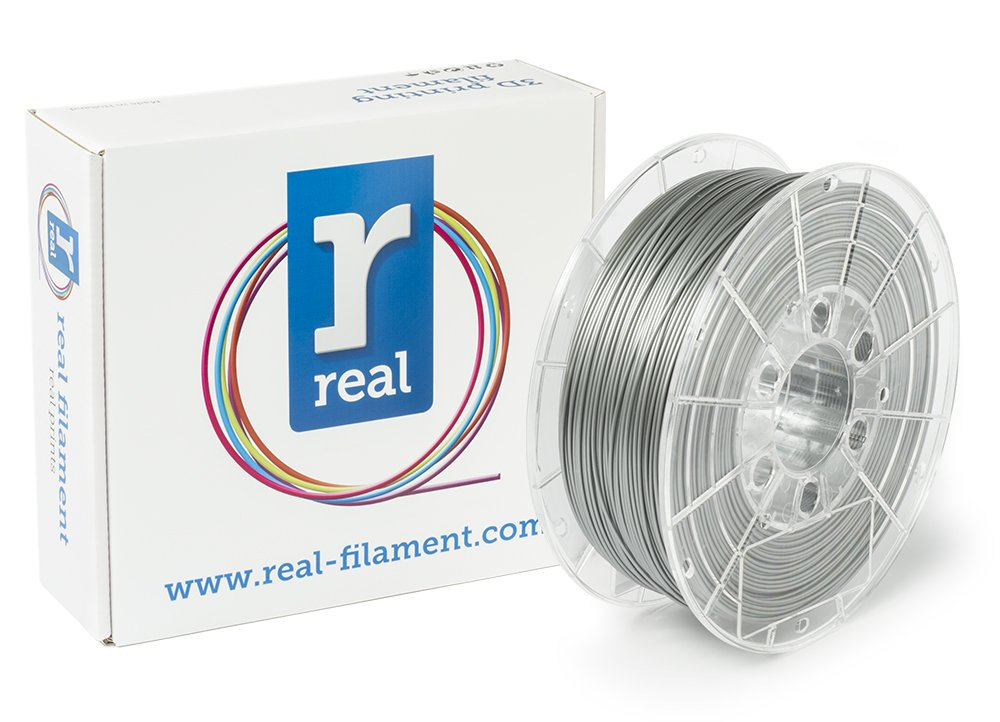 Real Filament 8719128324951 Real PLA, Spool of 1 kg, 1.75 mm, Silver NLPLASILVER1000MM175