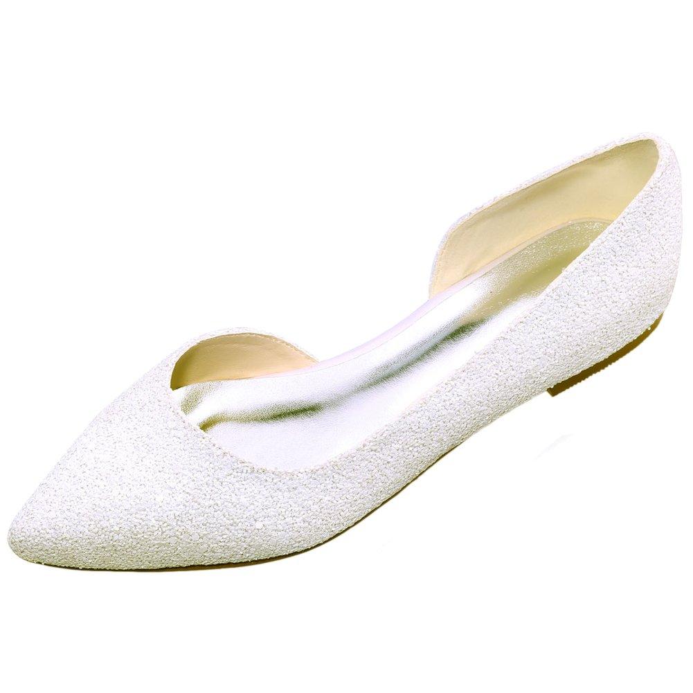 Loslandifen Women's Elegant Sequins Flats Pionted Toe Wedding Ballet Bridal Shoes(2046-08ASequins42,xiangbinse)
