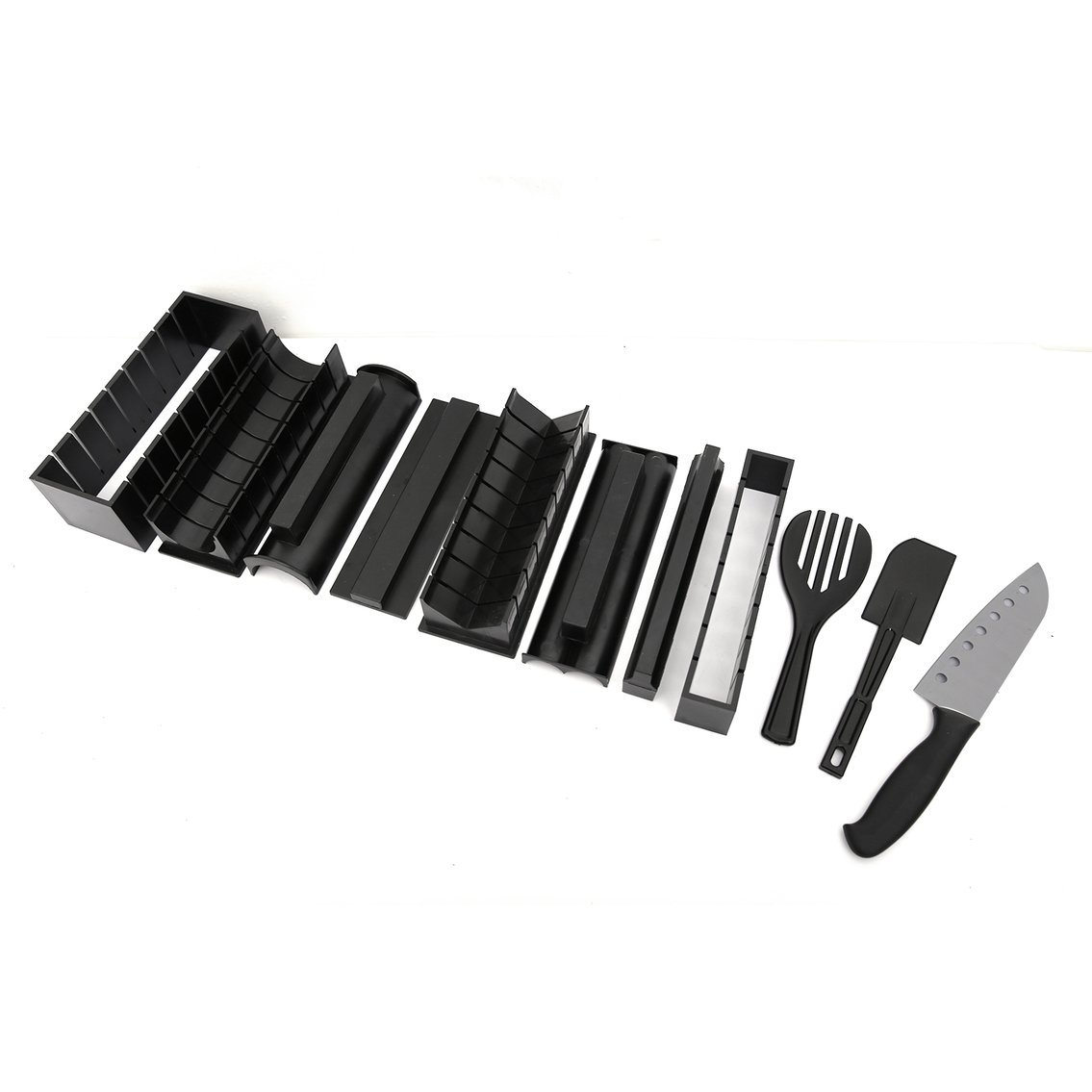Mazur 11 PCs Pack Sushi Making Kit DIY Roll Sushi Maker Rice Mold Cutter Household Kitchen Gadgets Sushi Making Tools for Beginners(Color:Black)