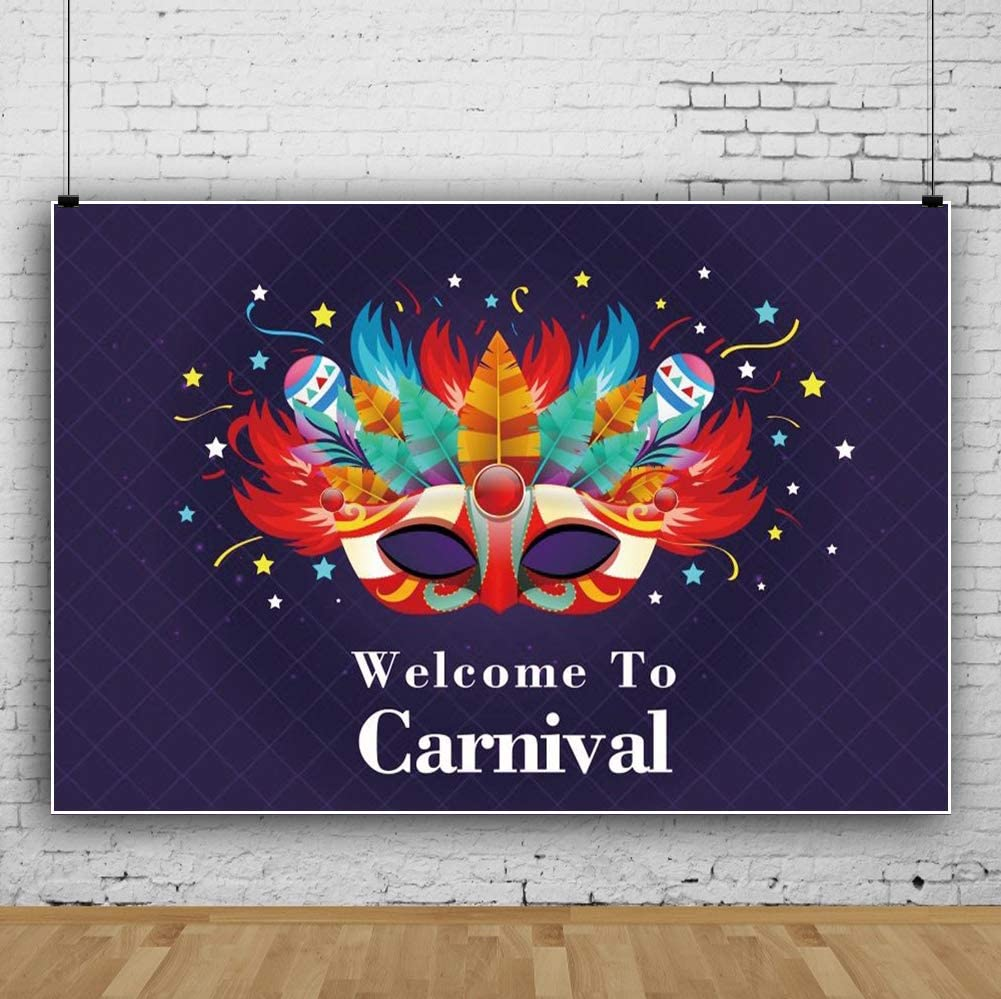 YEELE Carnival Party Backdrop 10x8ft Kids Birthday Celebration Photography Background Masquerade Mardi Gras Artistic Portrait Photo Booth Photoshoot Wallpaper