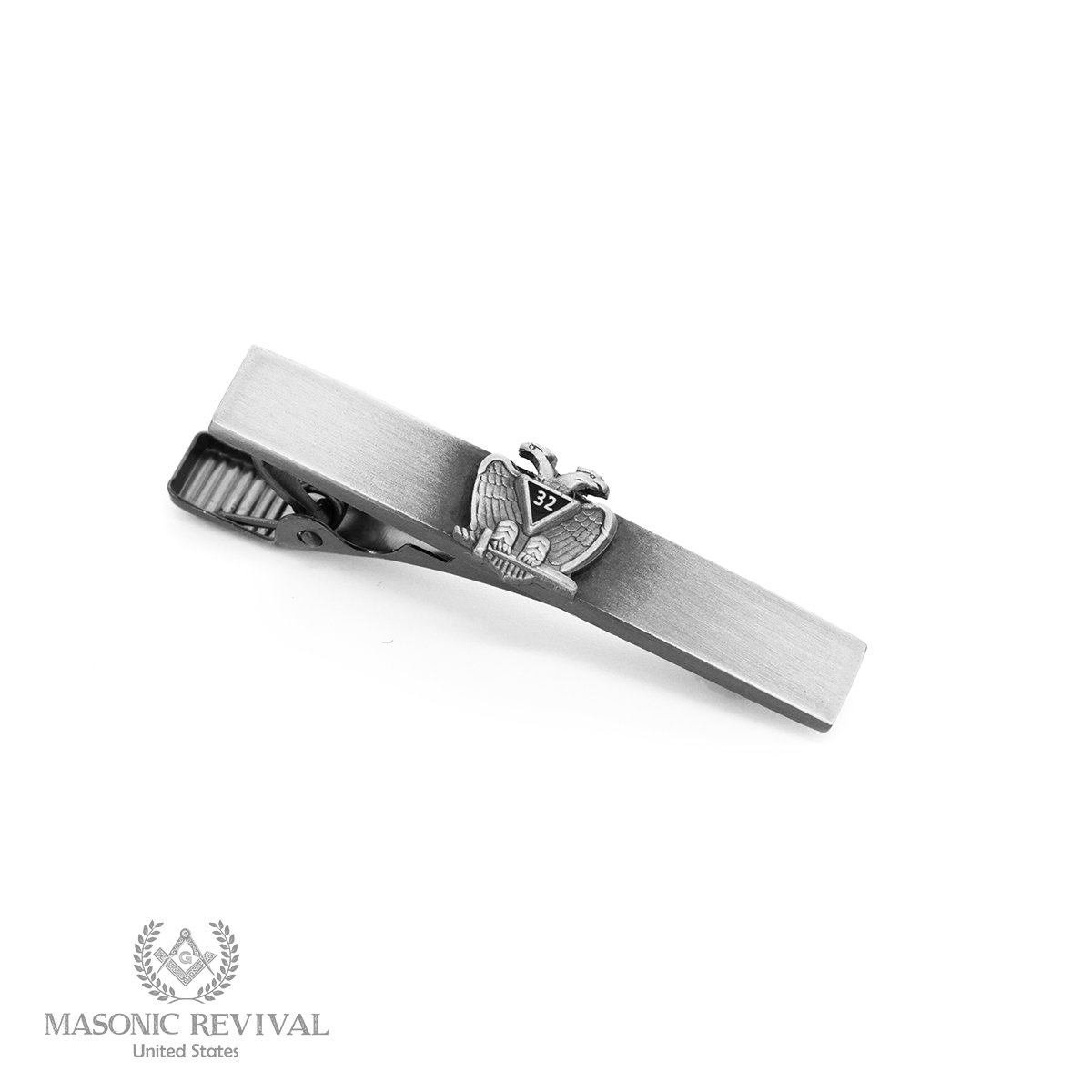 32nd Scottish Rite Tie Bar Clip by Masonic Revival (Short / Antique Silver)