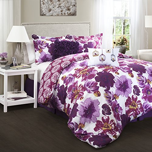 Lush Decor Leah Comforter 7 Piece Set, Purple, King