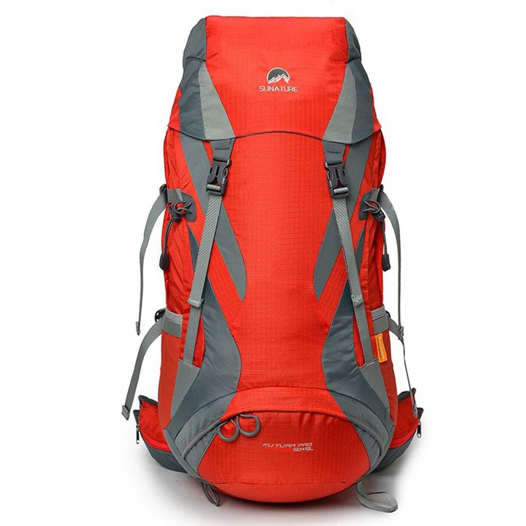 バックパック大容量防水ベルトレインカバーハイキングバックパック55 L屋外軽量ショルダー男性と女性の多機能バッグ  red B07QL7QG2C