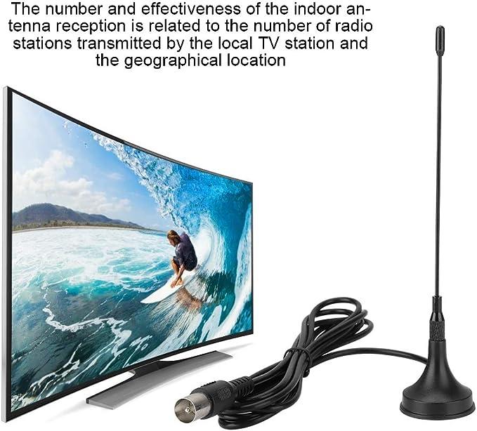 Socobeta Antena de TV Interior Antena UHF/VHF con Amplificador de señal para Canal Local