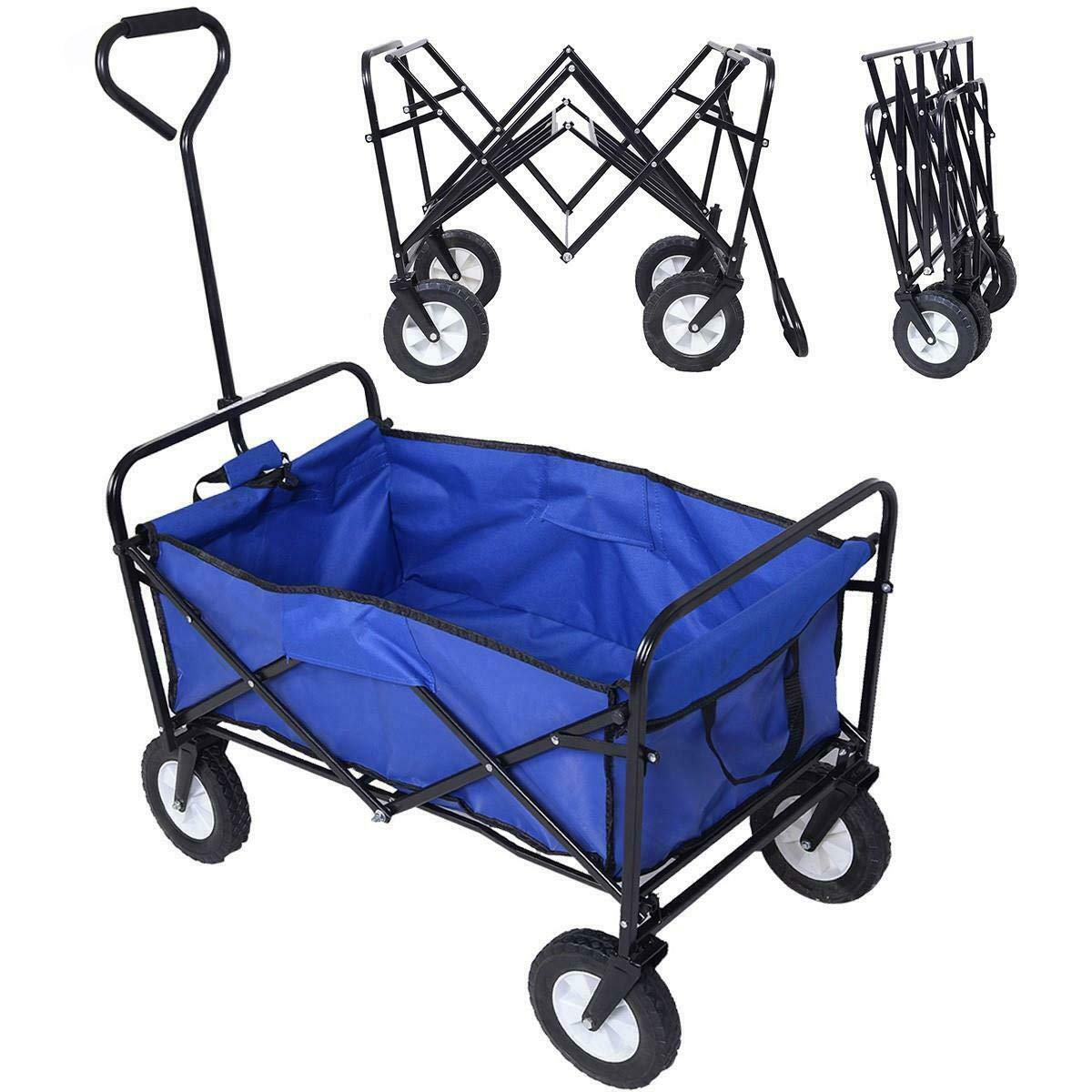 Heavy Duty Collapsible Cart Utility Folding Wagon Pull Garden Cart Shopping, Beach, Gardening, Storage, Camping Trolley by Ronzhy