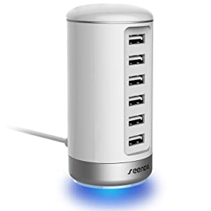 USB Wall Charger, Seenda USB Phone Charger - 6-Port Multi USB Charger with Smart Identification - White