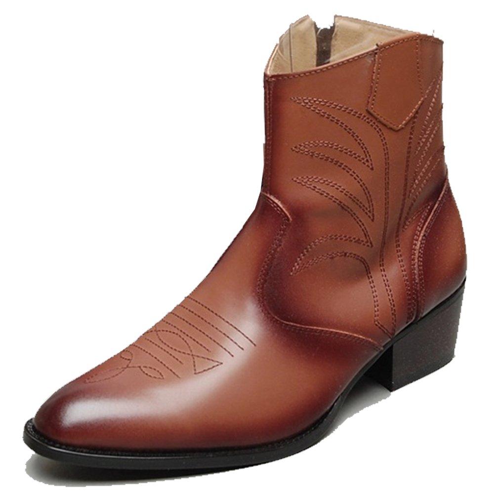 Epicsnob Mens Shoes Brown Cow Leather Western Cowboy Dress Ankle Boots 10 M US by Epicsnob