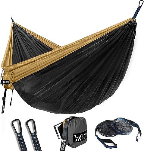 WINNER OUTFITTERS Double Camping Hammock – Lightweight Nylon Portable Hammock, Best Parachute Double Hammock for Backpacking, Camping, Travel, Beach, Yard. 118 L x 78 W