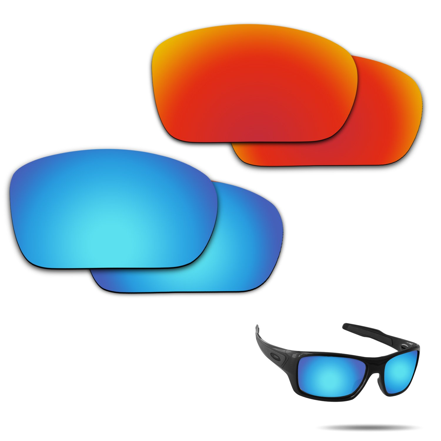 Fiskr Anti-saltwater Polarized Replacement Lenses for Oakley Turbine 2 Pairs Pack by Fiskr