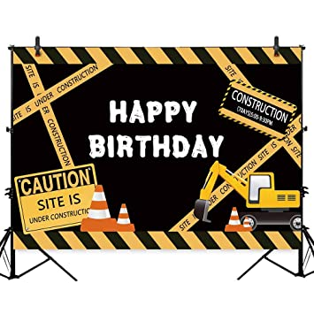 Amazon Com Allenjoy 7x5ft Polyester Under Construction Birthday