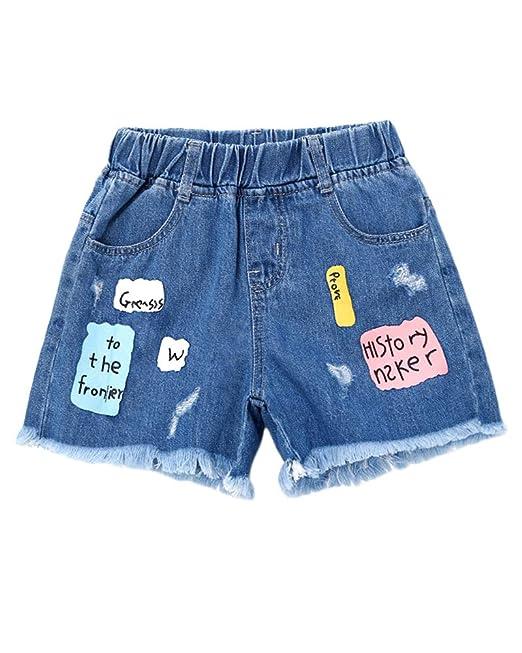 Pantalones Cortos Alta Cintura Casual Imprimiendo para Niña ...