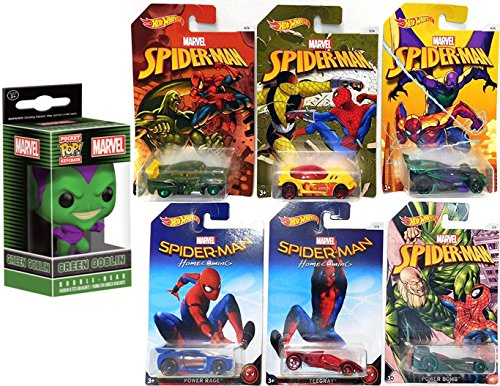 Hot Wheels Marvel Spider-Man Homecoming Movie Exclusive set Collectible 6 car bundle & Funko Mini Bobble-Head Green Goblin Keychain Exclusive Set