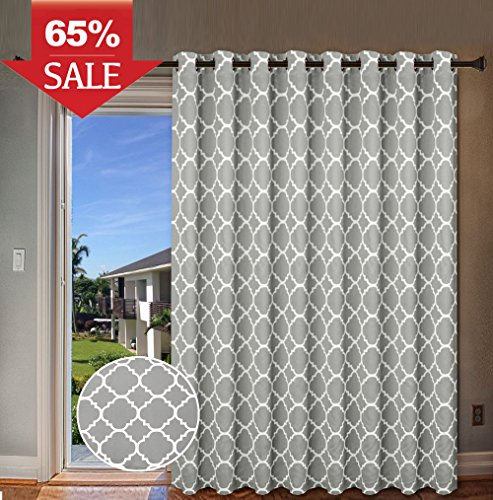 "H.Versailtex Blackout Printed Curtains Extra Long and Wide Thermal Insulated Panels -Grommet Wider Curtain Large Size 100""W by 84""L for Patio Door - Moroccan Tile Quatrefoil Pattern in Dove, Set of 1"