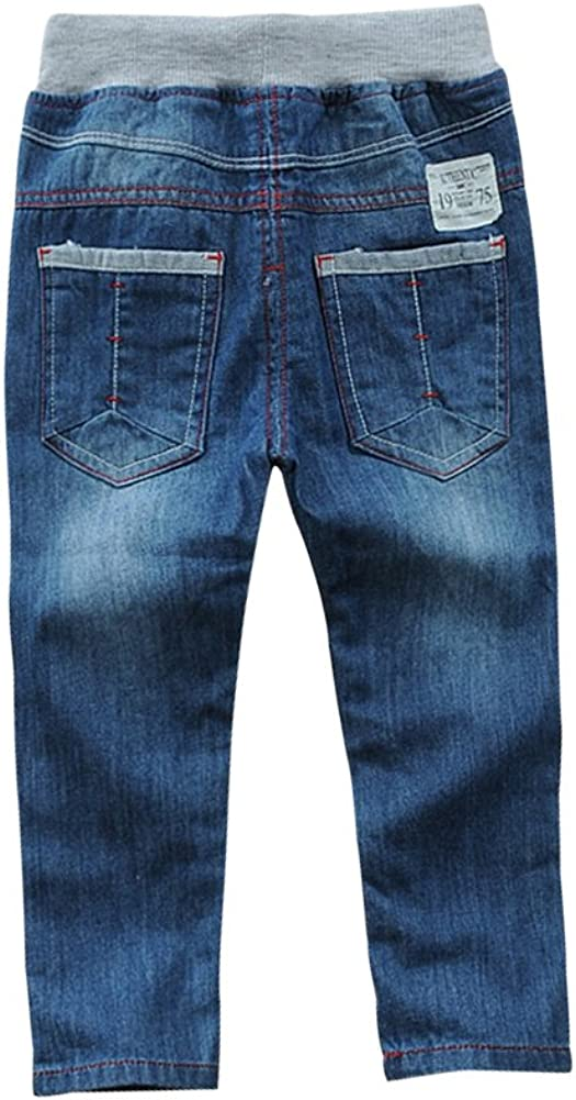 LISUEYNE Baby Boy Summer Casual Blue Jean Long Holey Ripped Jeans Elastic Band Denim Long Jeans for Boys