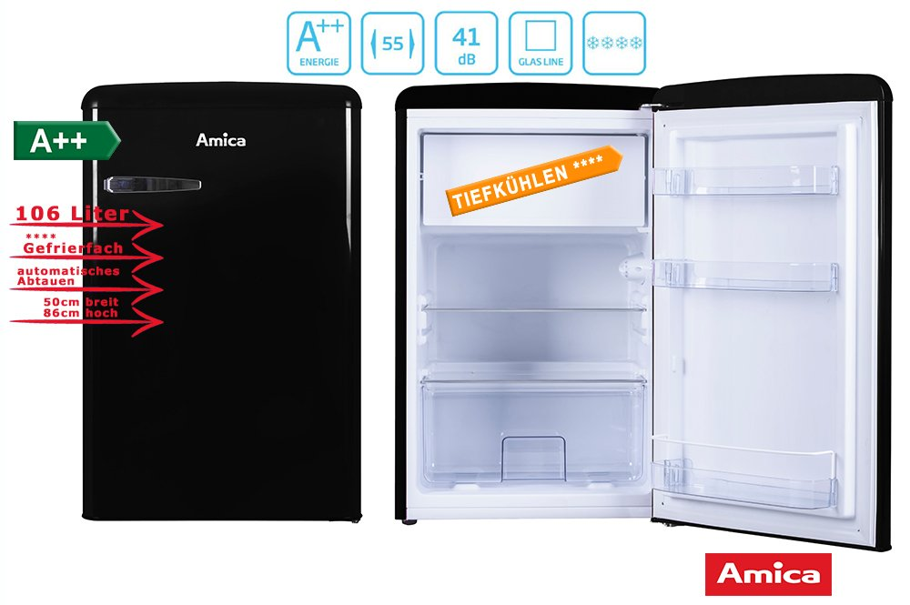 Amica Retro Kühlschrank Test : Amica retro kühlschrank schwarz ks 15614 s a 106 liter mit