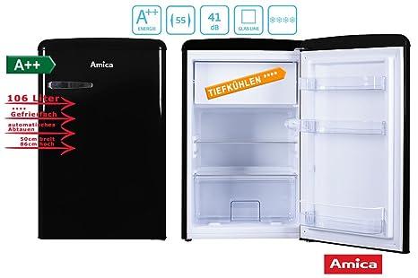 Kühlschrank Nostalgie Retro : Amica retro kühlschrank schwarz ks s a liter mit