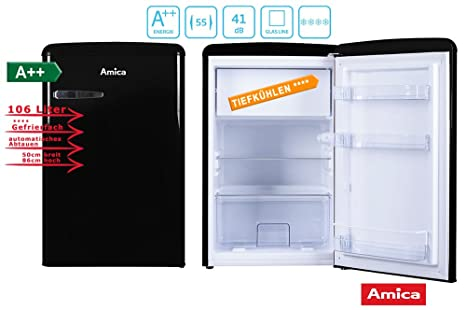 Amica Retro Design Kühlschrank : Amica retro kühlschrank schwarz ks s a liter mit