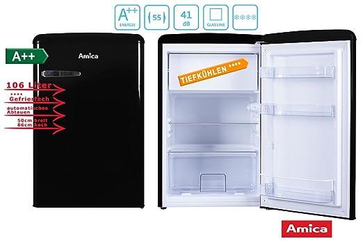 Amica Kühlschrank Mit Gefrierfach Retro : Amica retro kühlschrank schwarz ks 15614 s a 106 liter mit