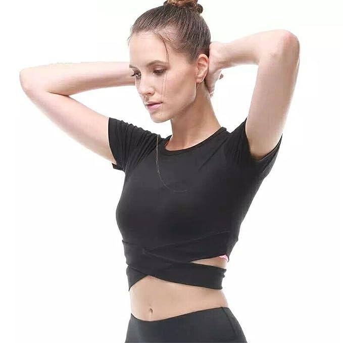 5358b8ebe0f13 Fanceey Women Fitness Exercise Yoga Shirt Sports Running Beauty Crop Top  Sportswear  Amazon.co.uk  Clothing