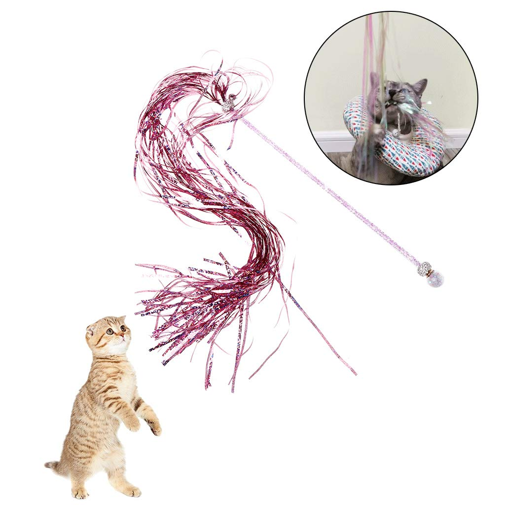 Cat Teaser Shiny Stick Tassel Long Dazzling Bell Pets Toy Dog Sound Paper Strips