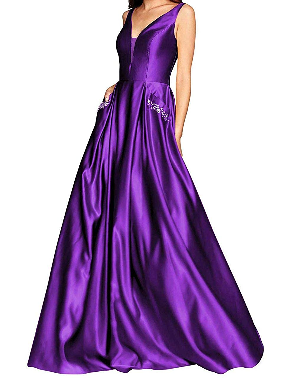 Lavender Yuki Isabelle Women's V Neck Prom Dresses A Line Beaded Satin Long Formal Evening Gown with Pockets