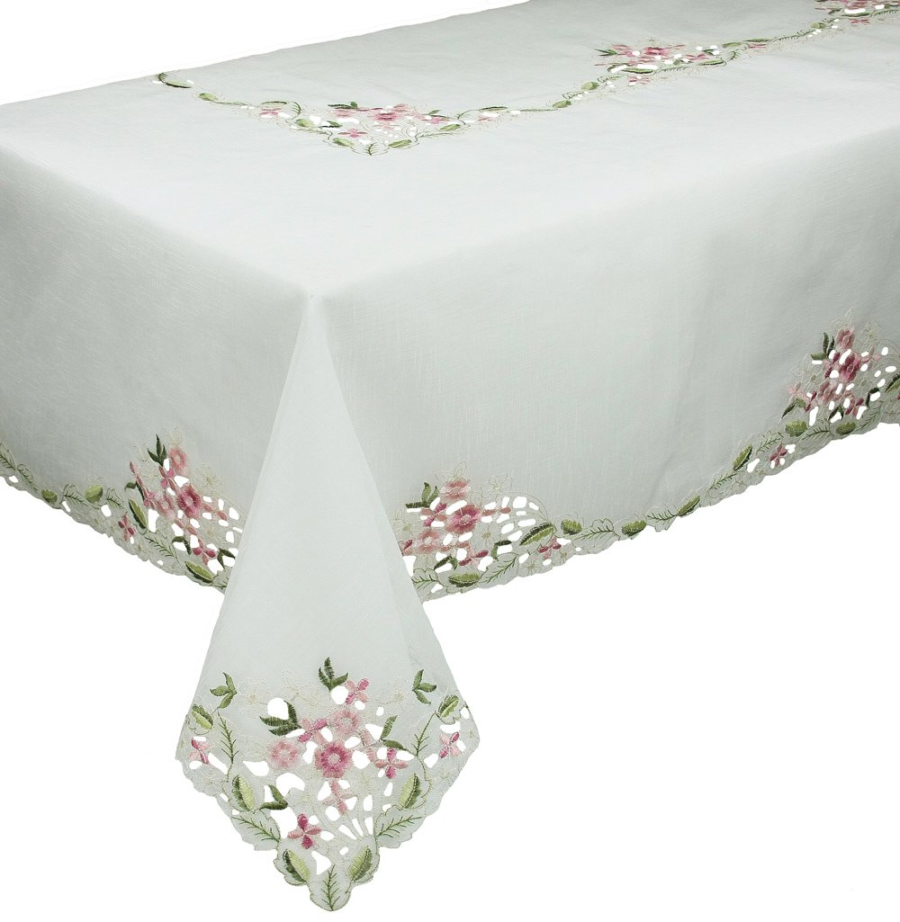 Xia Home Fashions Fairy Garden Sheer Embroidered Cutwork Spring Tablecloth, 65 by 108-Inch