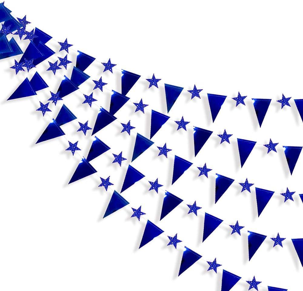 9M de papel de doble cara Tri/ángulo Bandera de la estrella Bunting Bander/ín Banner para cumplea/ños Vacaciones Boda Aniversario Despedida de soltera Fiesta de gallina Decoraciones Azul Real