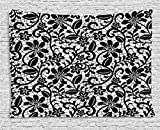 asddcdfdd Fractal Decor Tapestry, Ceramic Mosaic Style Baroque Floral Design with Minimalist Effects Artwork, Wall Hanging for Bedroom Living Room Dorm, 60WX40L Inches, Black White